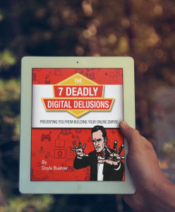 7 deadly digital delusions ebook device mockup 3d image - doyle buehler 1